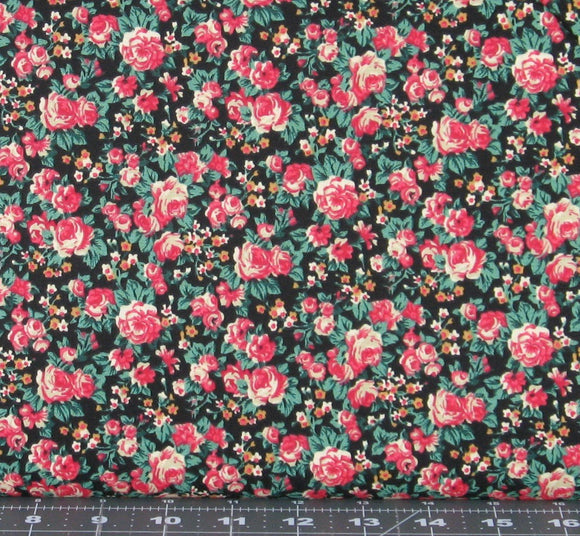 Red, Gold, Ivory, and Green Small Floral on a Black Background from Marshall Dry Goods, Country-11Black