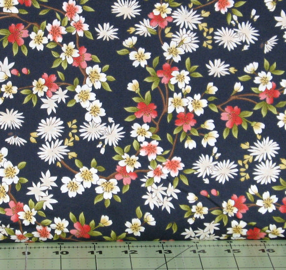 Red, Gold, Green and White Floral on a Navy Blue Background from the Japanese Garden Collection from Maywood Studios, 8082-N