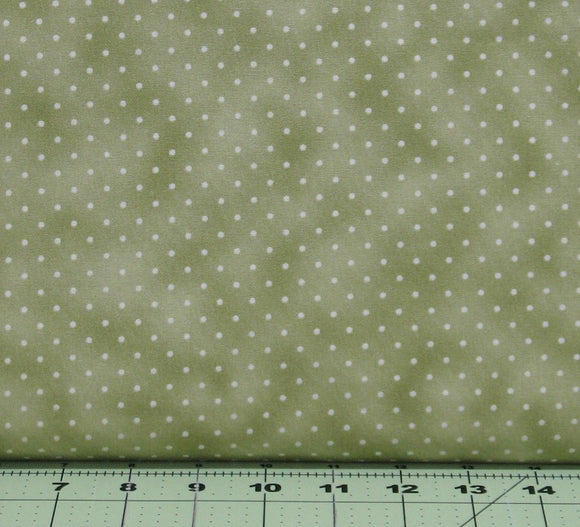 Ivory Dots on Light Olive Green Background, Beautiful Basics Collection, Maywood Studio