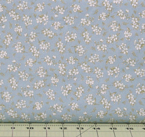 White Flowers with Green Leaves on Light Blue from the Gentle Breeze Collection by Maywood Studio, 8517-B
