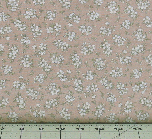 White Flowers on Tan from the Gentle Breeze Collection by Jan Douglas for Maywood Studios, 8517-T