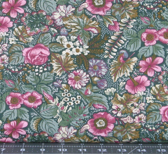 Pink, Green and Ivory Floral on Dark Green from Marshall Dry Goods, Country-010Green
