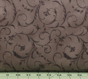 Brown Tonal Scroll Design, Wide Backing Fabric from the Beautiful Backing Collection by Maywood Studio, QB100-A2