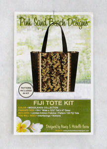 Fiji Tote Kit with Batiks from Woodlands Collection by Hoffman California, Includes Magnetic Snap & Pattern