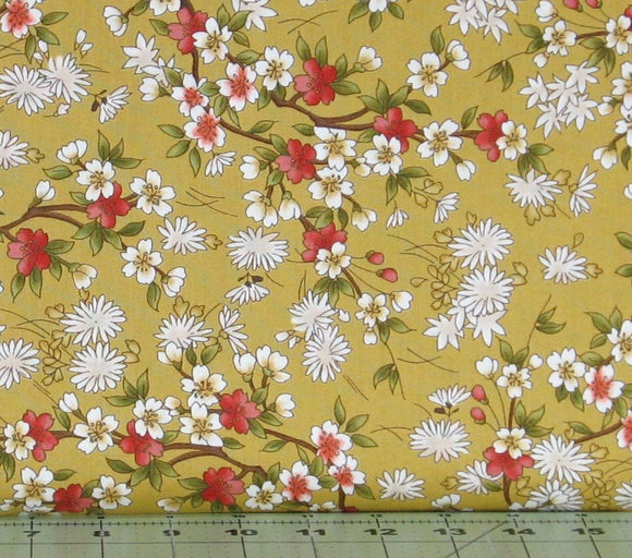 Red, Green and White Floral on a Gold Background from the Japanese Garden Collection by Maywood Studio