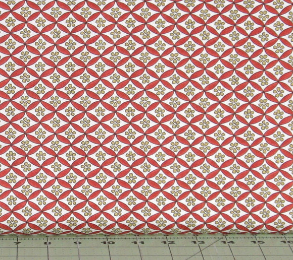 Geo in Red, Red and Gold Diagonal Floral on White from the Japanese Garden Collection by Maywood Studio, 8086-R