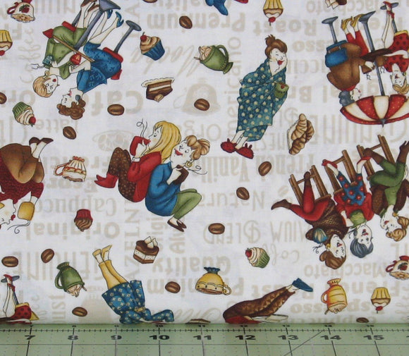 Tossed Coffee Ladies on Ivory from the Coffee Escapes Collection by Bonnie Krebs for Henry Glass Fabrics, 8841-44