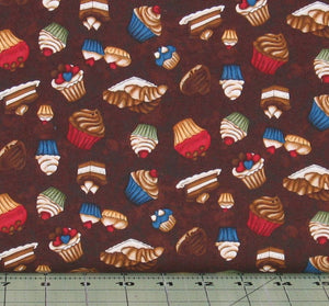 Tossed Sweet Treats on Brown from the Coffee Escapes Collection by Bonnie Krebs for Henry Glass Fabrics, 8847-38