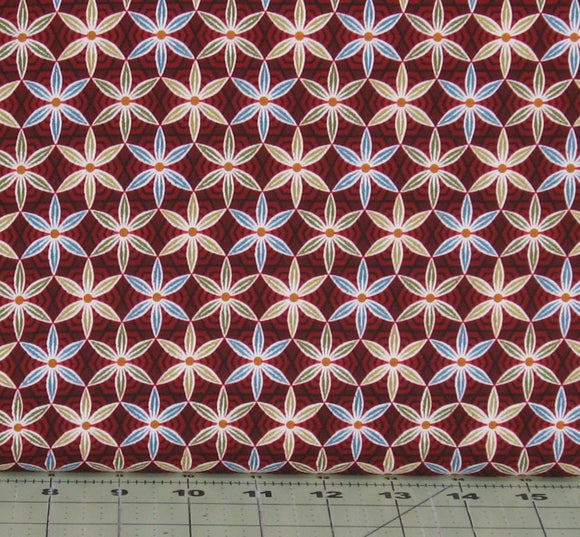 Coffee Flower in Red from the Coffee Escapes Collection by Bonnie Krebs for Henry Glass Fabrics, 8846-88
