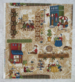 Coffee Escapes Scene on Ivory Latte Swirl Background from Coffee Escapes Collection by Bonnie Krebs for Henry Glass Fabrics