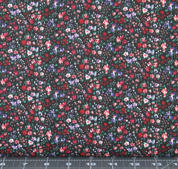 Red, Purple, Pink and Green Floral on Black Background from Marshall Dry Goods, Country-17Black