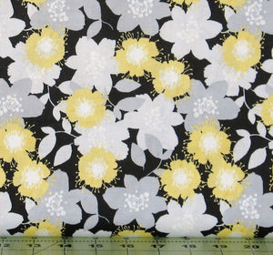 Gray, Yellow and White Floral on Black from the Marbella Collection by Quilter's Palette, 12634-BLACK