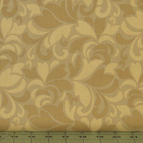 Gold Tonal Feather Swirls from the Fabric, Flint Collection by Red Rooster Fabrics, 468626486-GOL1