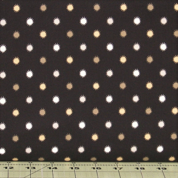 Gold, Gray and Soft White Burst Dots on Black from the Flint Collection by Red Rooster Fabrics, 468626488-BLA1