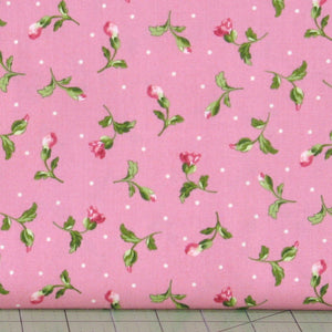 Pink Flower Buds with Leaves and Dots on Pink from Poppies Collection by Rachel Shelburne