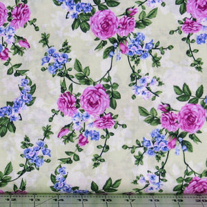 Pink and Blue Floral on Green from the Beverly Park Collection from RJR Fabrics, 2914-003