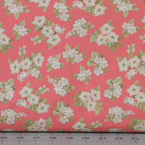 White Flower Blossoms on Salmon Pink from the Aubrey Collection by Whistler Studios for Windham Fabrics, 42648-3
