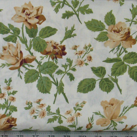 Brown and Tan Roses with Green Leaves on White from the Evelyn Collection by Whistler Studios for Windham Fabrics, 41982-3