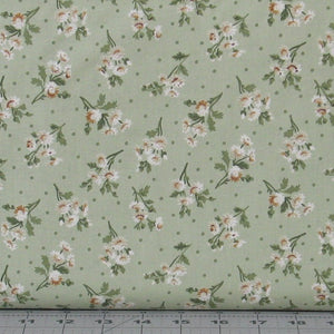 Brown, Tan and Green Flower Sprays on Green from the Evelyn Collection by Whistler Studios for Windham Fabrics, 41983-2