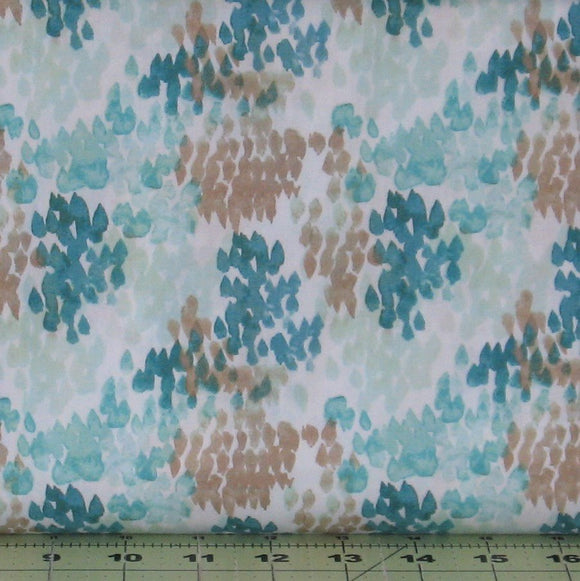 Teal and Brown Watercolor Design on White Background from Flora Collection