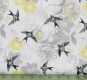 Gray and Yellow Floral with Black Birds on White from the Marbella Collection by Quilter's Palette, 12630-GRAY