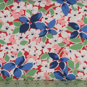 Large Floral in Red, Hi-De-Ho!, a Kim's Cause Collection by Maywood Studios, Reproduction Fabric, 9135-R