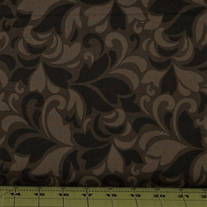 Black, Gray, and Brown Feather Swirls from the Flint Collection from Red Rooster Fabrics, 468626486-BLA1
