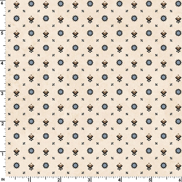 Blue and Brown Shirting Print on Cream from the Hold 'em or Fold 'em Collection by Maywood Studio, 8387-EB