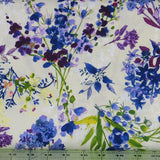 Purple, Blue and Green Floral on Ivory and White from the Marcella Collection by Clothworks