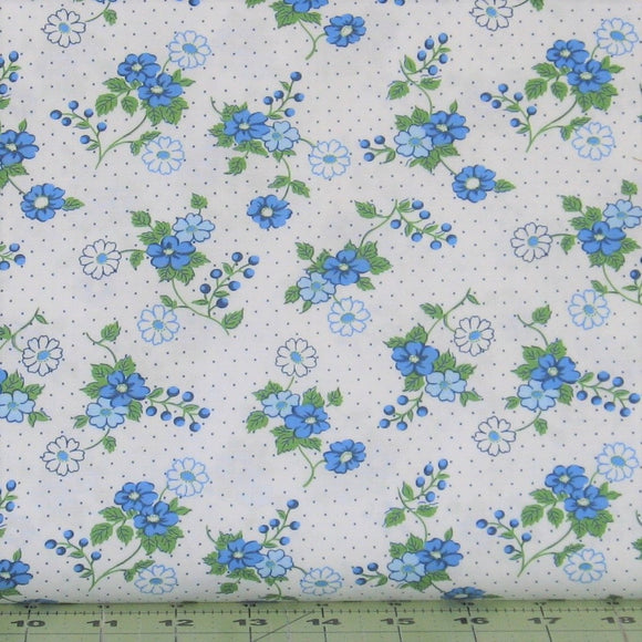 Blue and Green Flowers and Dots on White from the Berries & Blossoms Collection by Maywood Studio, 8832-B