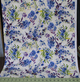 Purple, Blue and Green Floral on Ivory and White from the Marcella Collection