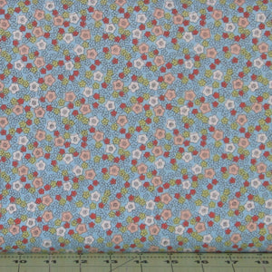 Red, Peach, White, and Green Flowers on Blue from Flo's Little Flowers Collection