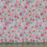 Peach, Blue, Green and Beige Floral on White from Flo's Little Flowers Collection