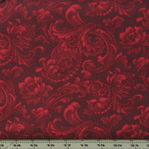 Red Tonal Floral Scroll on Very Dark Red from the Mary's Blenders Collection by Mary Koval for Windham Fabrics, 41482-19