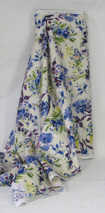 Purple, Blue and Green Floral on Ivory and White from the Marcella Collection by Clothworks, Y2124-57-Cream