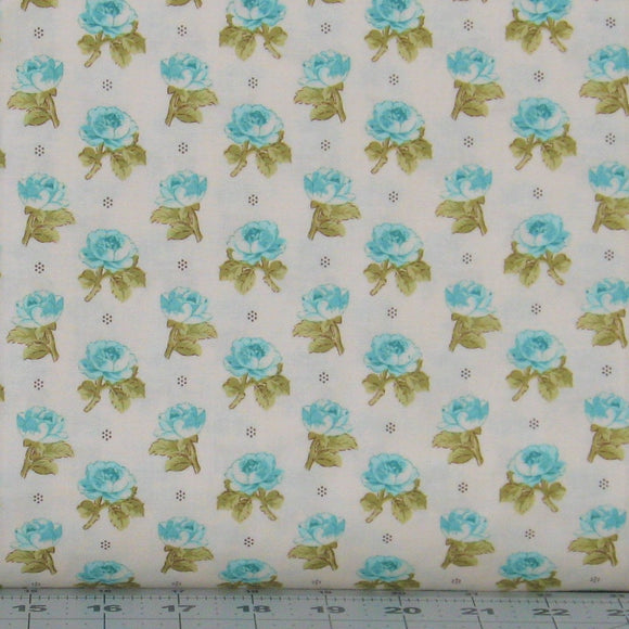 Teal Flower Buds on Light Ivory from the Aubrey Collection by Whistler Studios for Windham Fabrics, 42650-1