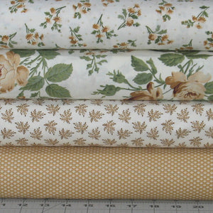 4 Brown, Tan, Green and White Floral Fabric Bundle from the Evelyn Collection by Whistler Studios for Windham Fabrics