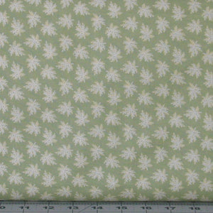White and Ivory Small Floral Sprigs on Green