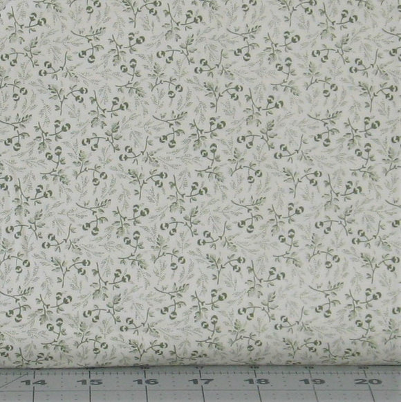 Small Green Floral on Soft White Background from the Evelyn Collection by Whistler Studios for Windham Fabrics, 41984-2