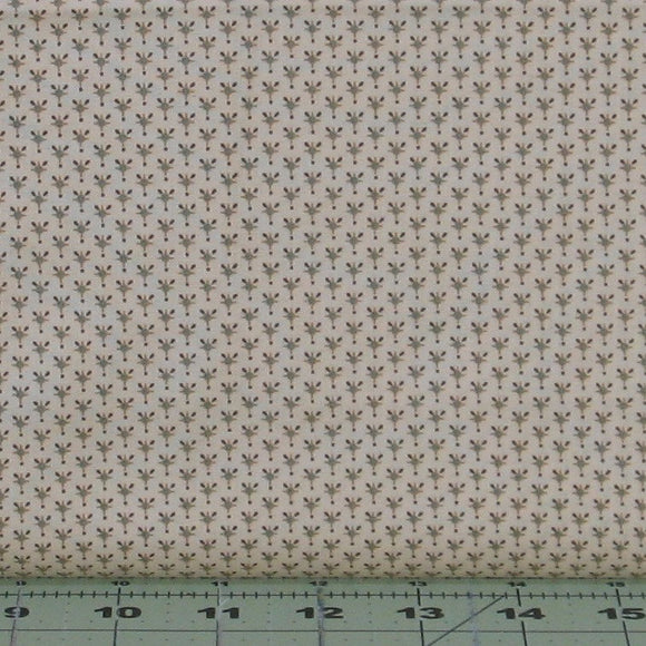 Small Brown, Gold and Green Design on Cream from the Helping Hands Collection by Kim Diehl for Henry Glass Fabrics, 6880-44