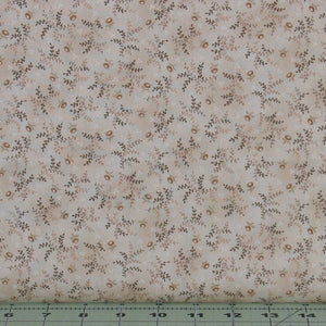 Small Brown Leaves and Flowers on Cream from the Helping Hands Collection by Kim Diehl for Henry Glass Fabrics, 6878-44