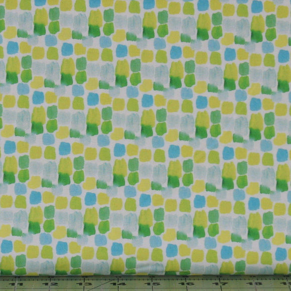 Geometric in White Honey Meadow 3 Wishes Fabric