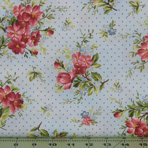 Sweet Pink and Red Flower Sprays with Blue Dots on Light Blue from the Roses on the Vine Collection by Marti Michell, 8433-B