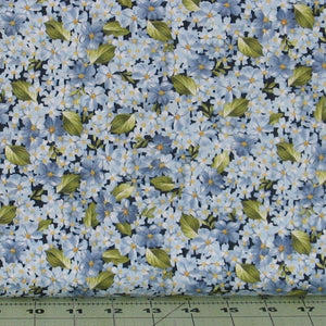 Packed Blue Flowers with Green Leaves from Roses on the Vine Collection by Marti Michell for Maywood Studio, 8434-B