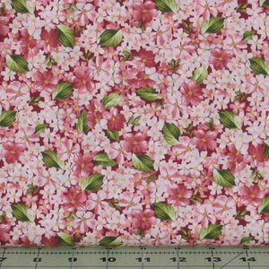 Packed Pink Flowers with Green Leaves from the Roses on the Vine Collection by Marti Michell for Maywood Studio, 8434-R