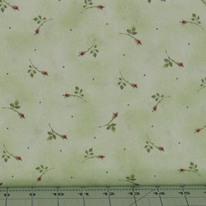 Small Red Rosebuds with Green Leaves on Light Green from the Roses on the Vine Collection by Marti Michell for Maywood Studio, 7887-G