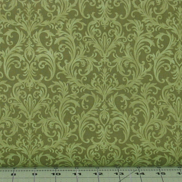 Green Tone on Tone Scroll from the Roses on the Vine Collection by Marti Michell for Maywood Studio, 8436-G2