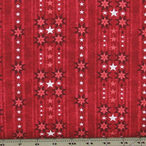 Red and White Stars on Red Stripe Background, Heartland Collection by Jennifer Brinley