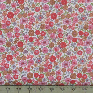 Pink, Gold, Green and Gray Floral on White from Flo's Little Flowers Collection