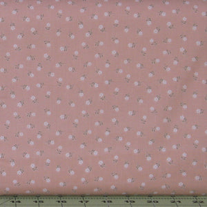 Small White and Gray Floral on Peachy Pink from the Flo's Little Flowers Collection by Lewis & Irene, FLO1-2